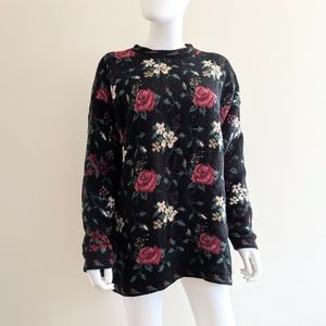VTG Black Rose Floral Print Knit Sweater